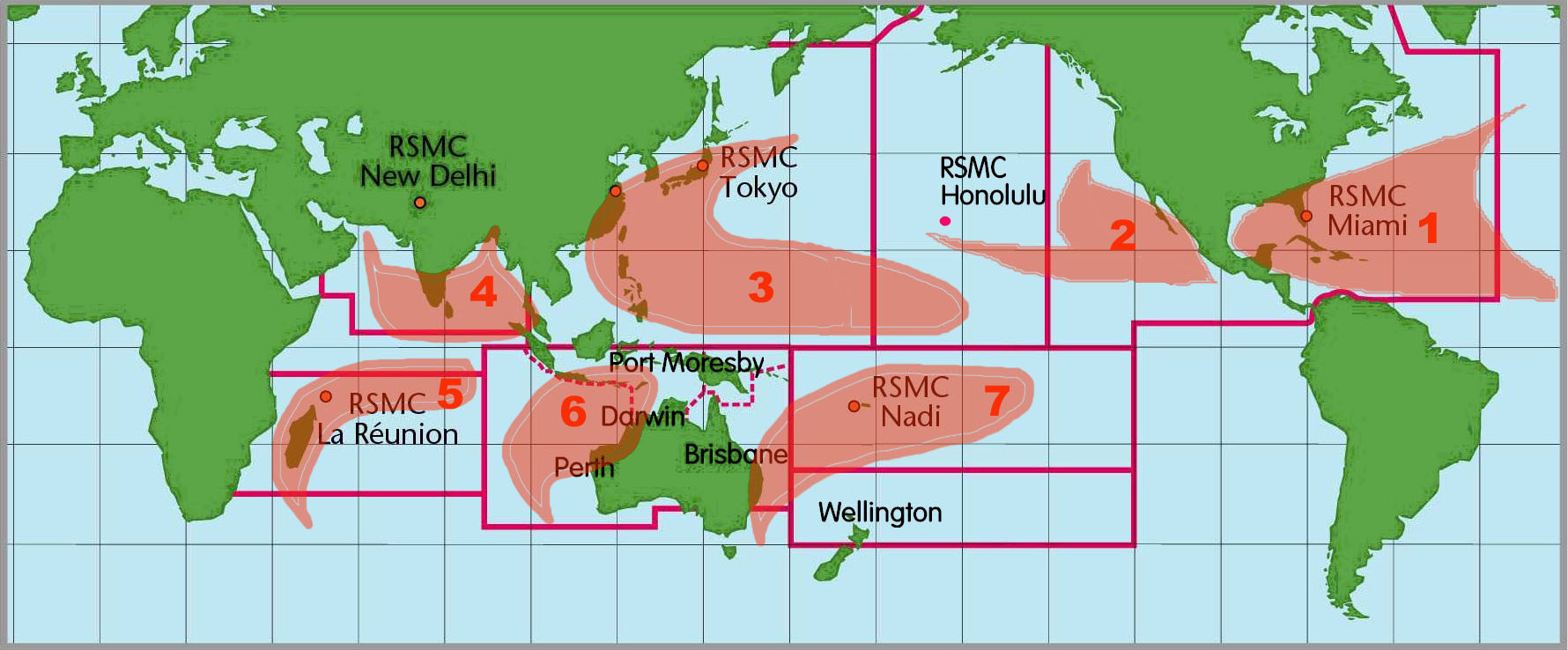 TCFAQ F1) What regions around the globe have tropical cyclones and who