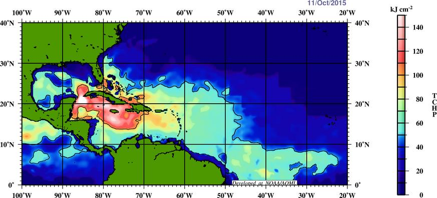 Upper ocean heat content remains quite high across much of the western Atlantic and Caribbean Sea.