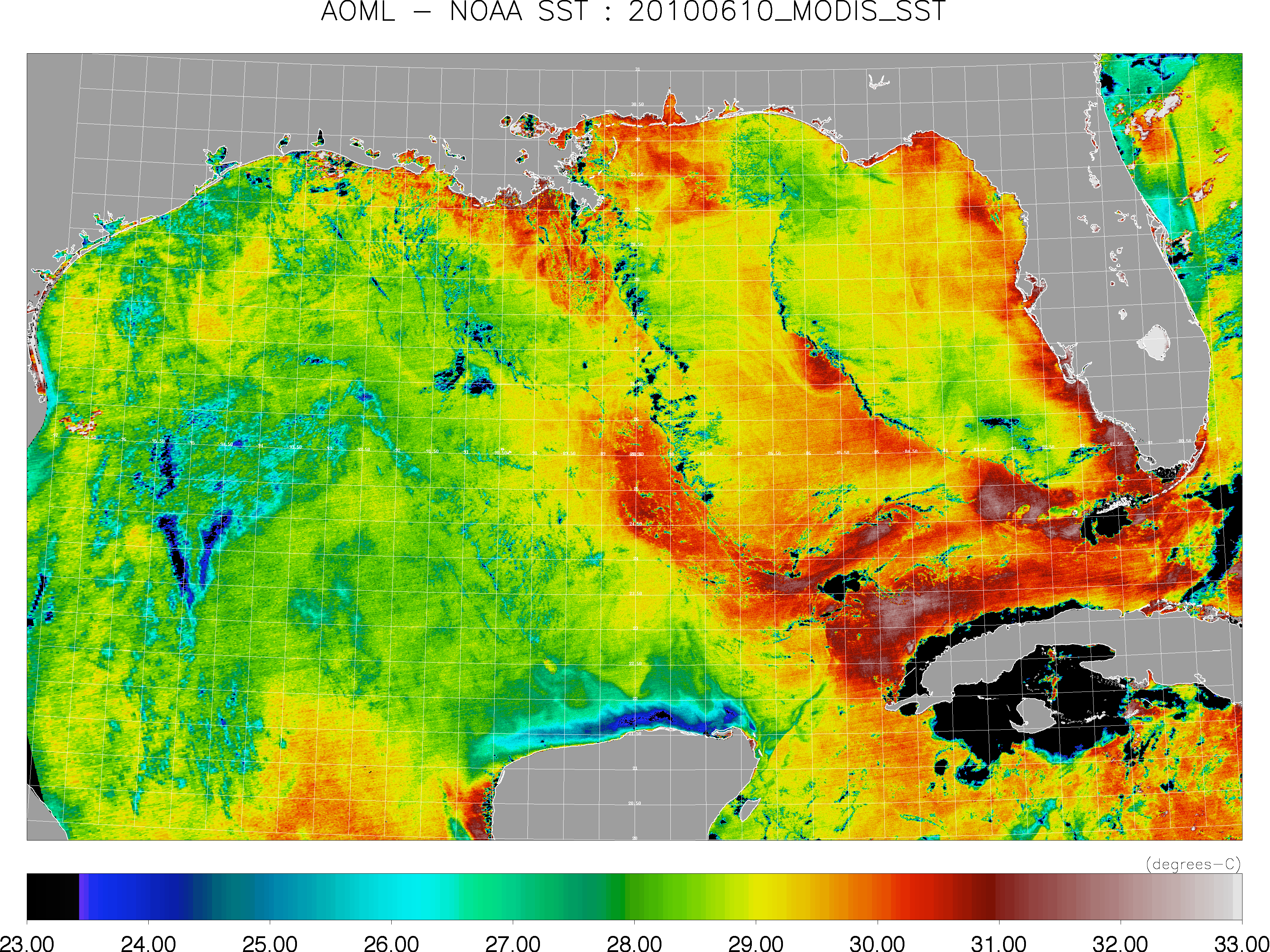 Physical Oceanography Division Monitoring The Gulf Of Mexico - Mexico temperature map
