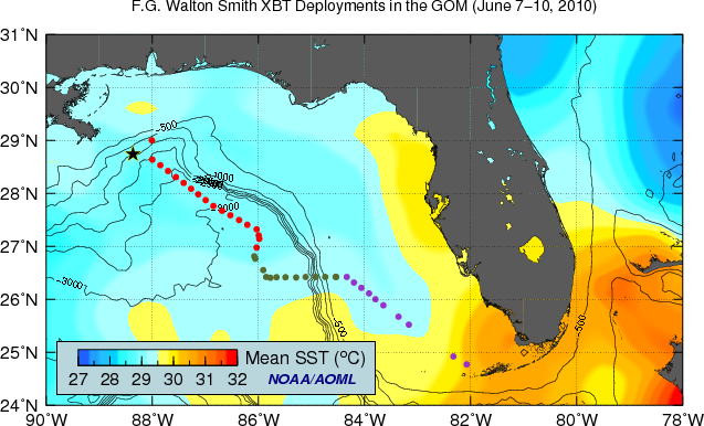 Physical Oceanography Division Monitoring The Gulf Of Mexico - Florida temperature map