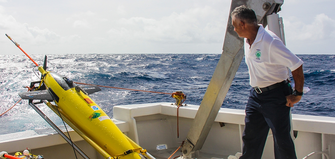 Ubaldo Lopez of the University of Puerto Rico at Mayaguez prepares to launch NOAA ocean gliders in the summer of 2017 off Puerto Rico
