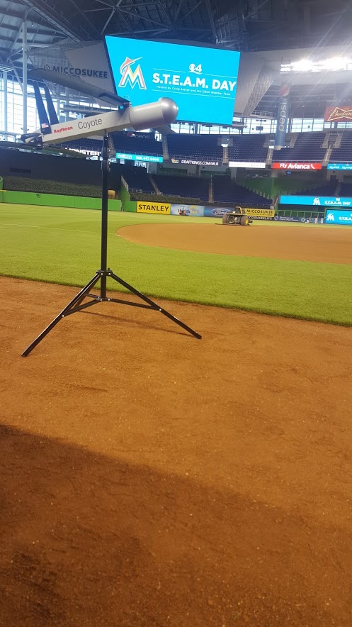 The Coyote UAS on the field at Marlins Park for CBS4's S.T.E.A.M. Day. Image credit: NOAA