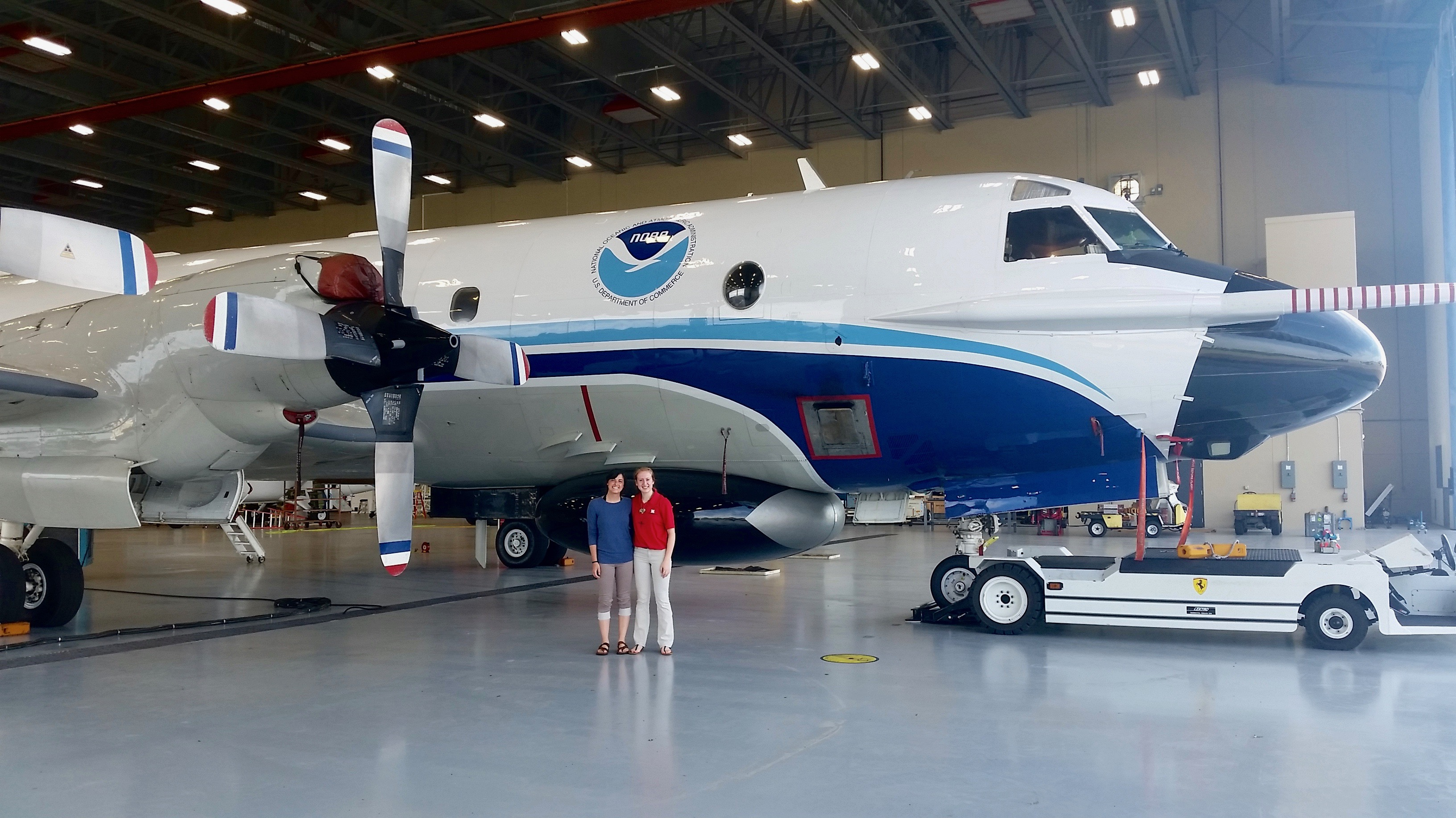 Interns Emily Paltz and Rani Wiggins visit the new Aircraft Operations Center at Linder Regional airport in Lakeland, FL. Image credit: NOAA