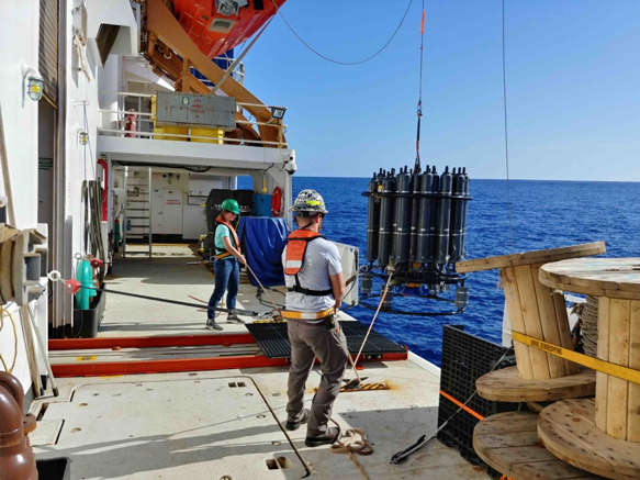 CTD device deployment, Photo Credit NOAA 5-07-2018