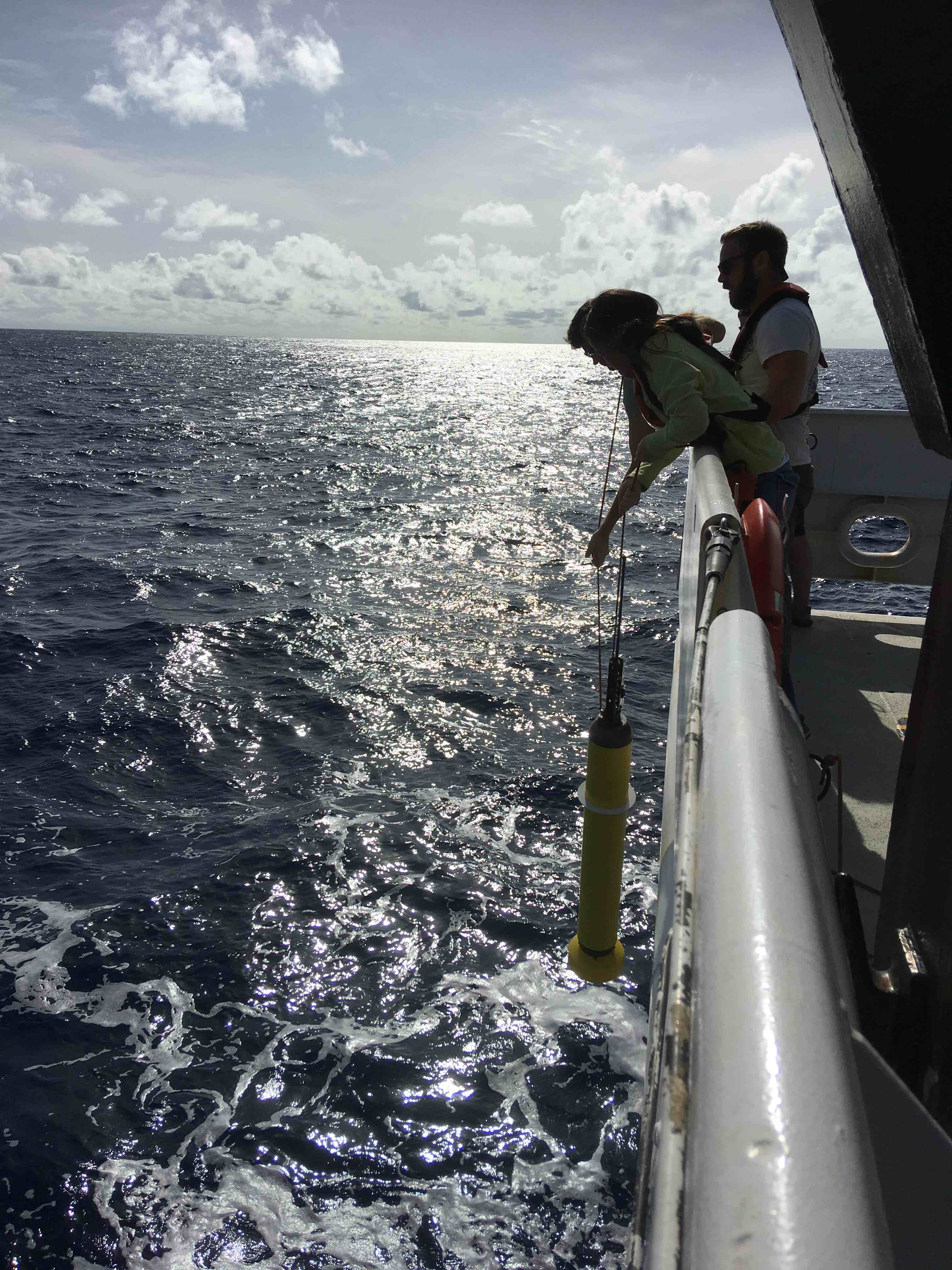 From left to right, Ian, Andy, and Christian deploying an ARGO float
