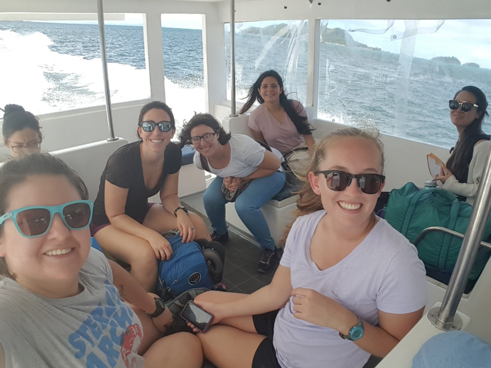 From left to right: Bonnie, Myself Amanda, Catherine, Carmen, Annelise, and Jenna on a water taxi to Mahé