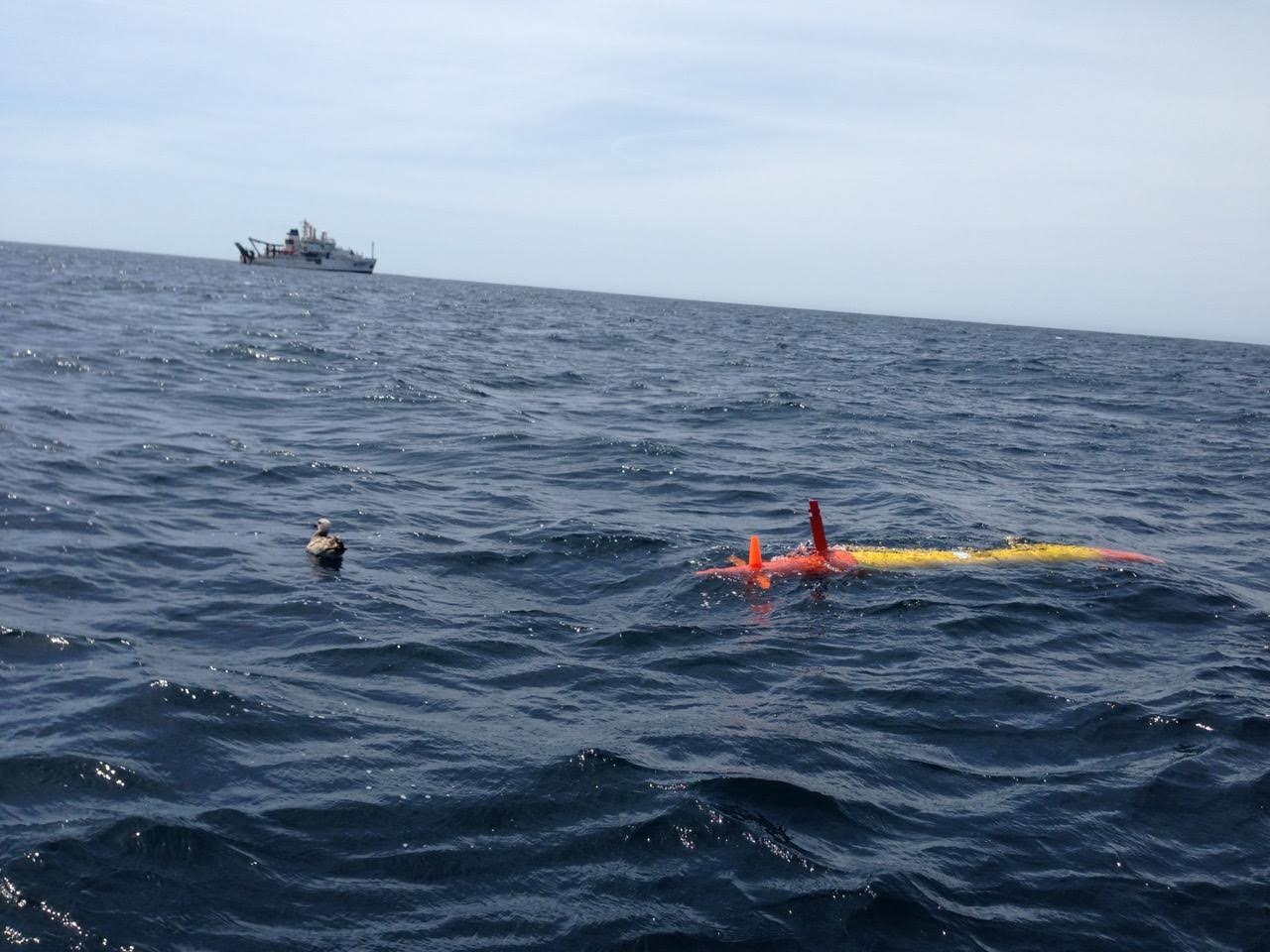 eAUV is deployed during April 2017 CalCOFI cruise. Image credit: NOAA