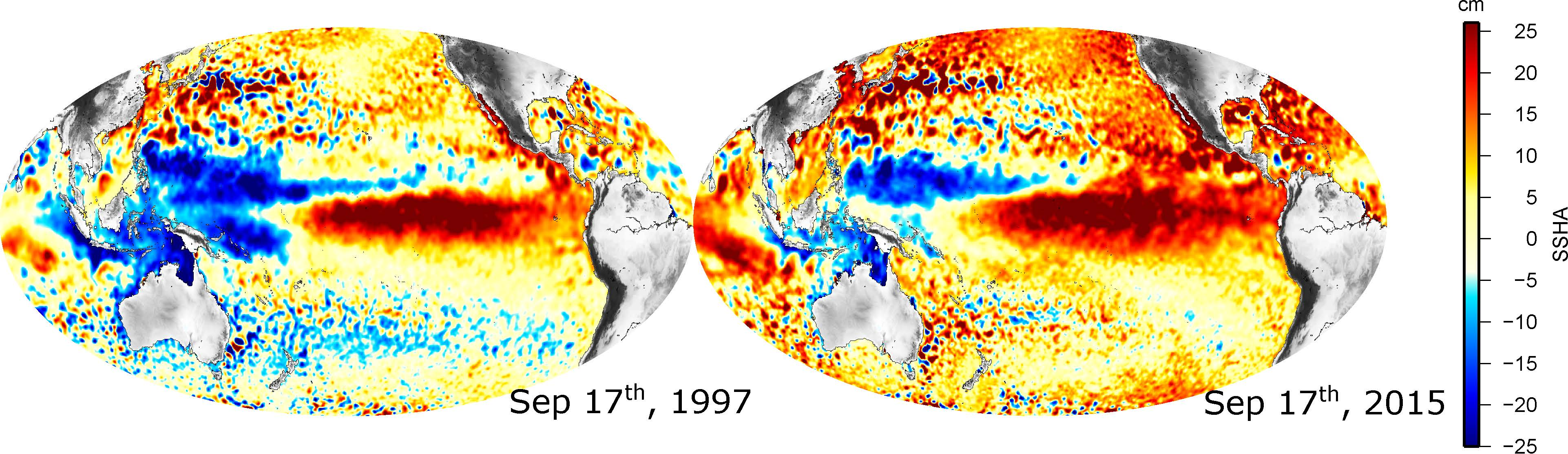 Comparison of sea surface height anomalies during the 1997-1998 and 2015-2016 El Niño episodes in the Pacific Ocean. El Niño events impact weather patterns globally scale and may facilitate the transport of waterborne disease from the equatorial Pacific into the Americas.
