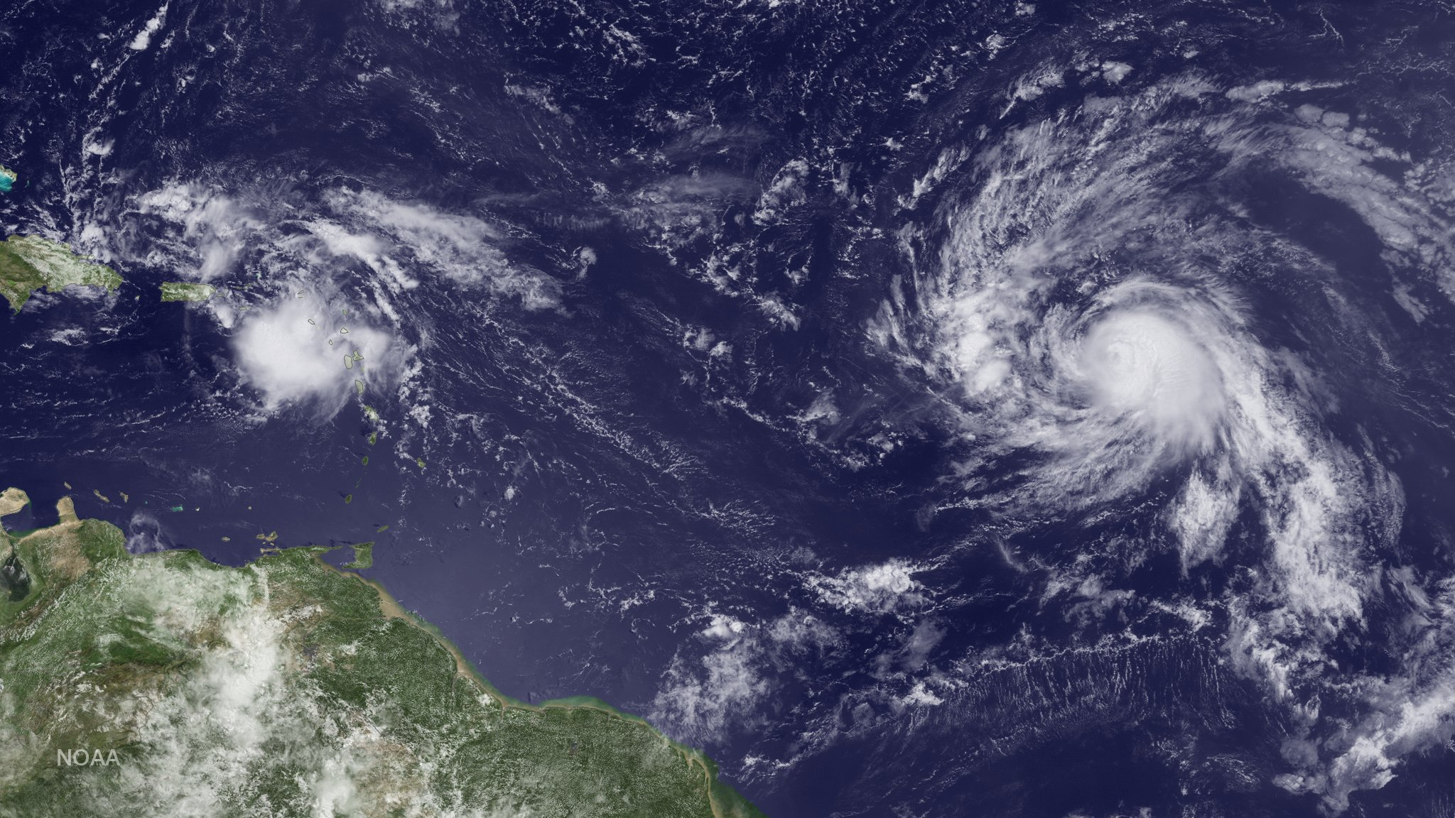 AL99 (left) and Gaston (right) observed in the Atlantic.