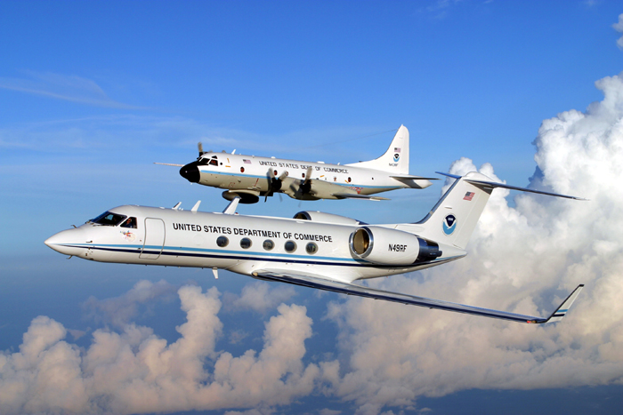 NOAA's G-IV Jet in the forefront and P-3 Aircraft in the back. Image Credit: NOAA