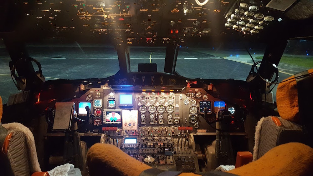 The cockpit of the P-3 aircraft. Image credit: NOAA