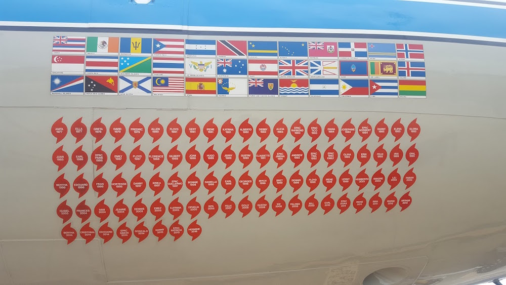 The side of the P-3 aircraft, showing all the hurricanes it flew through. Image credit: NOAA