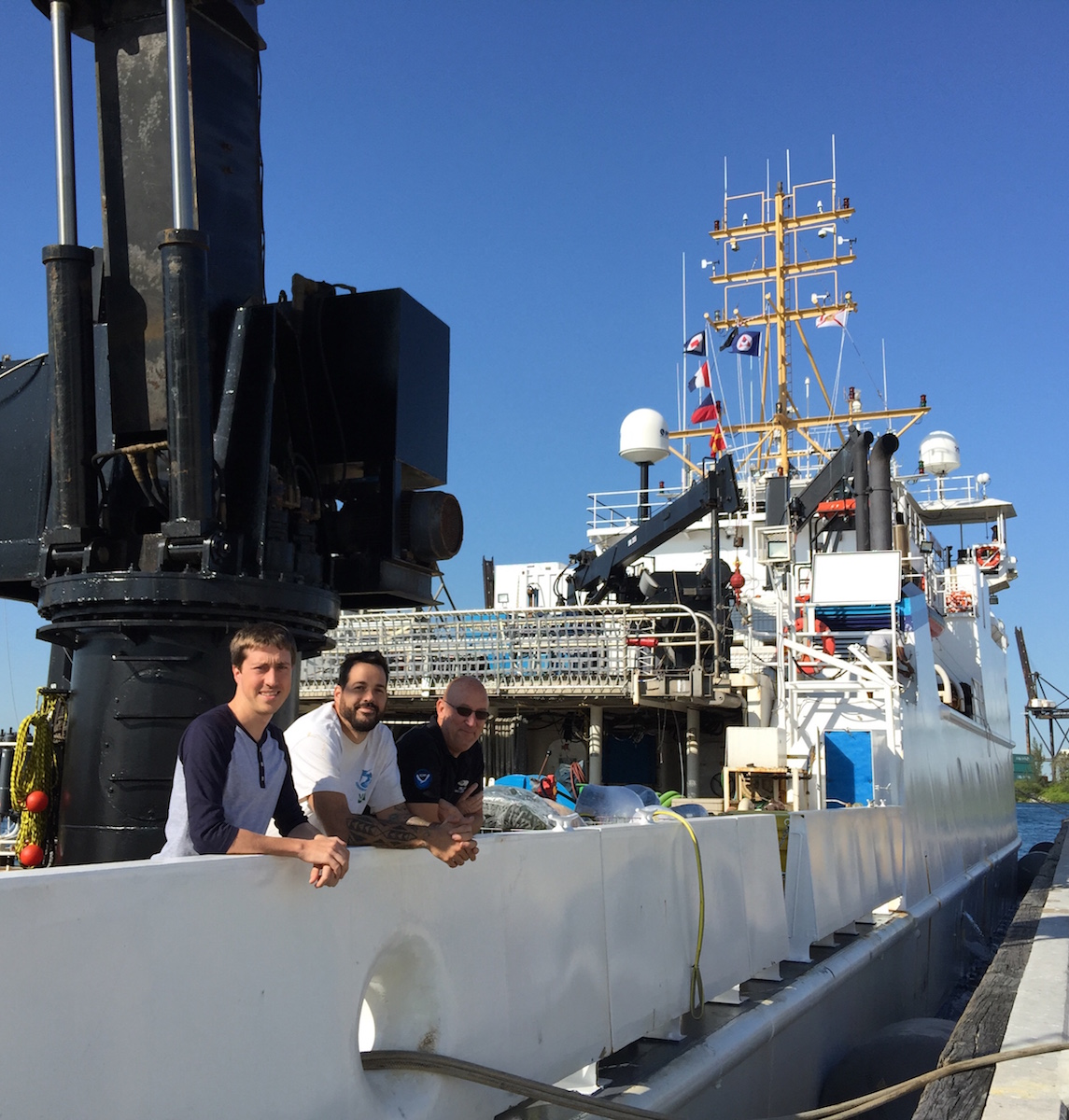 AOML oceanographers aboard the NOAA Ship Nancy Foster in Miami, FL. Image credit: NOAA