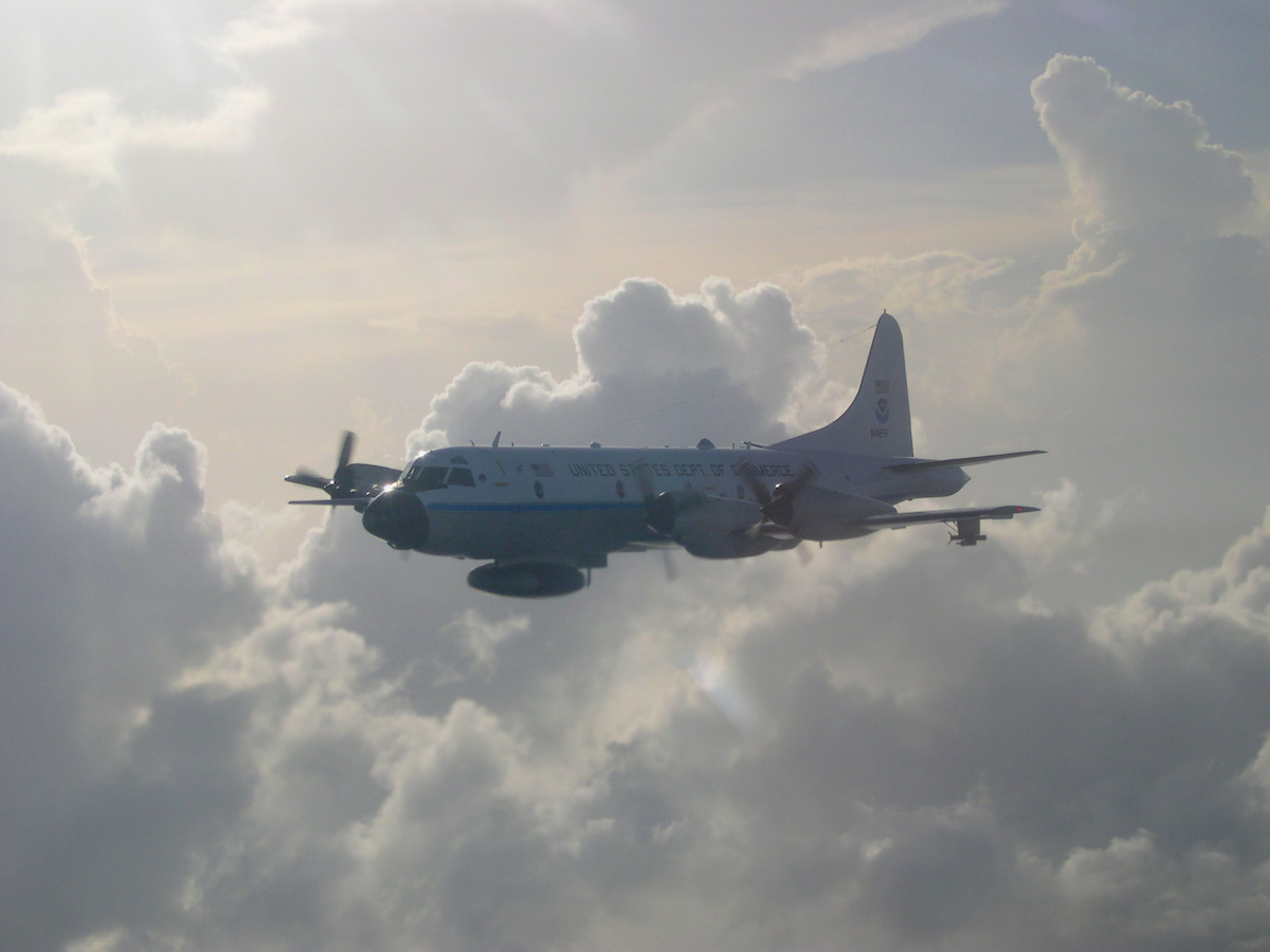 NOAA's P-3 aircraft flew multiple missions into Hurricane Danny & Tropical Storm Erika. Image credit: NOAA
