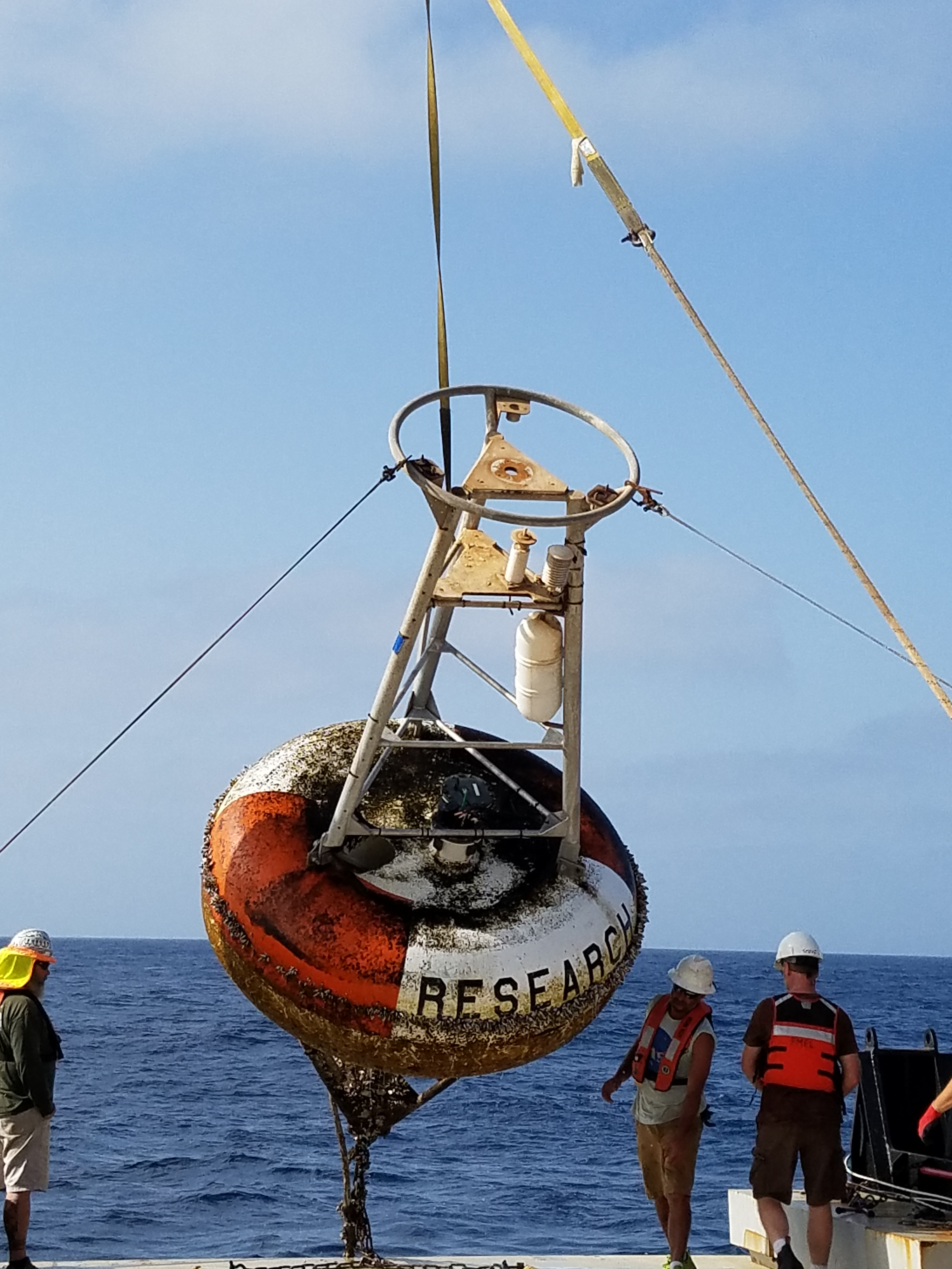 A PNE mooring being recovered after 15 months at sea. Image credit: NOAA