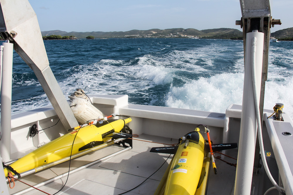 Two underwater gliders get ready for deployment. Image credit: NOAA