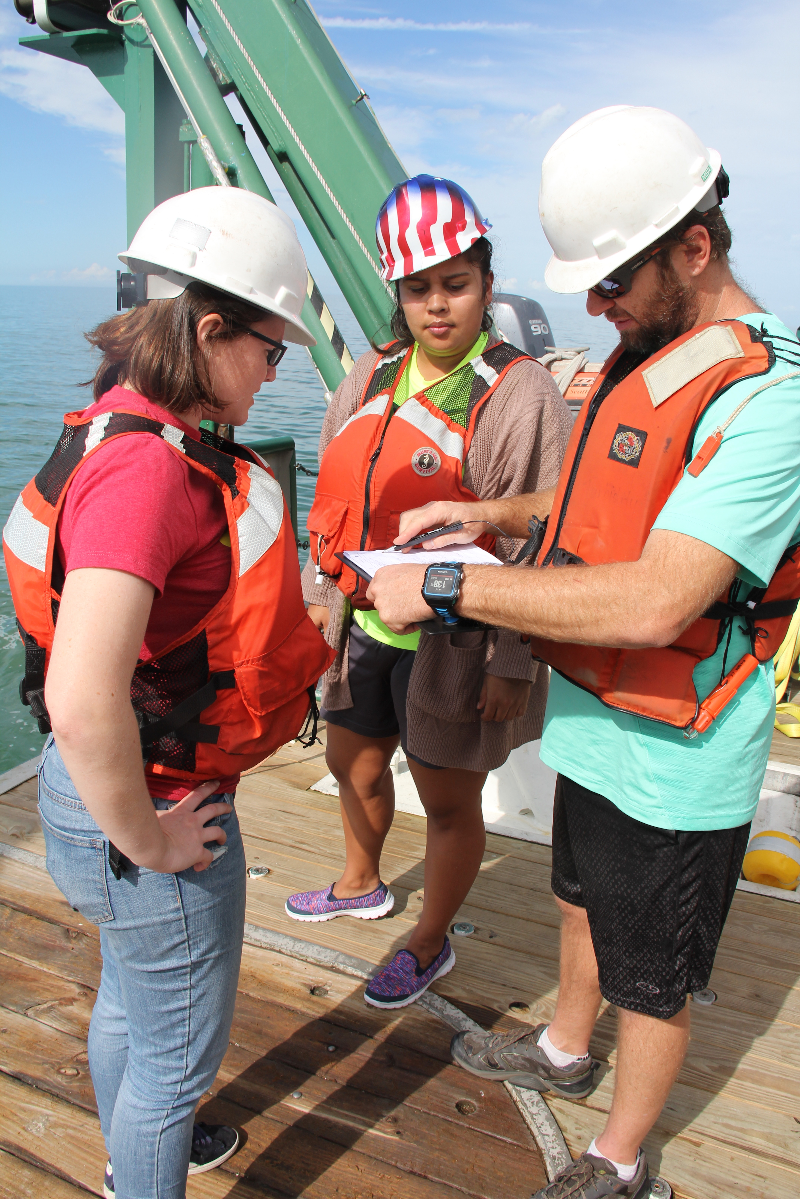 Scientists review data sheet on observation deck. Image credit: NOAA