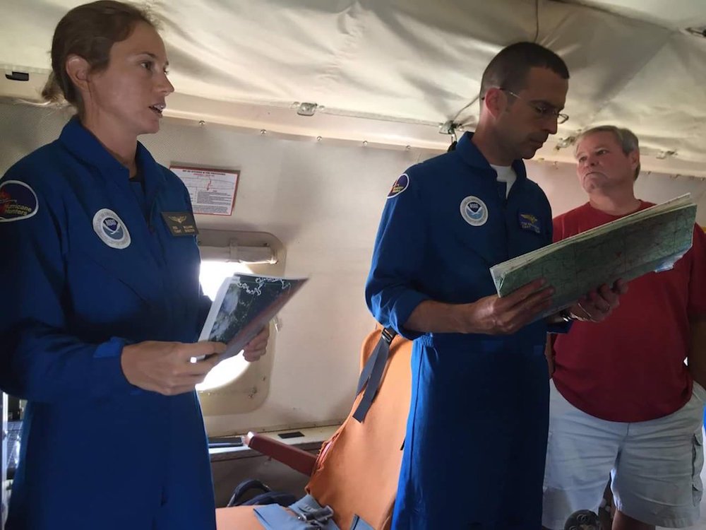 NOAA Hurricane Hunters brief the crew before flying into TD9. Image credit: NOAA