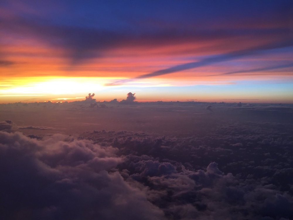 NOAA aircraft flying into the sunset of TD9. Image credit: NOAA