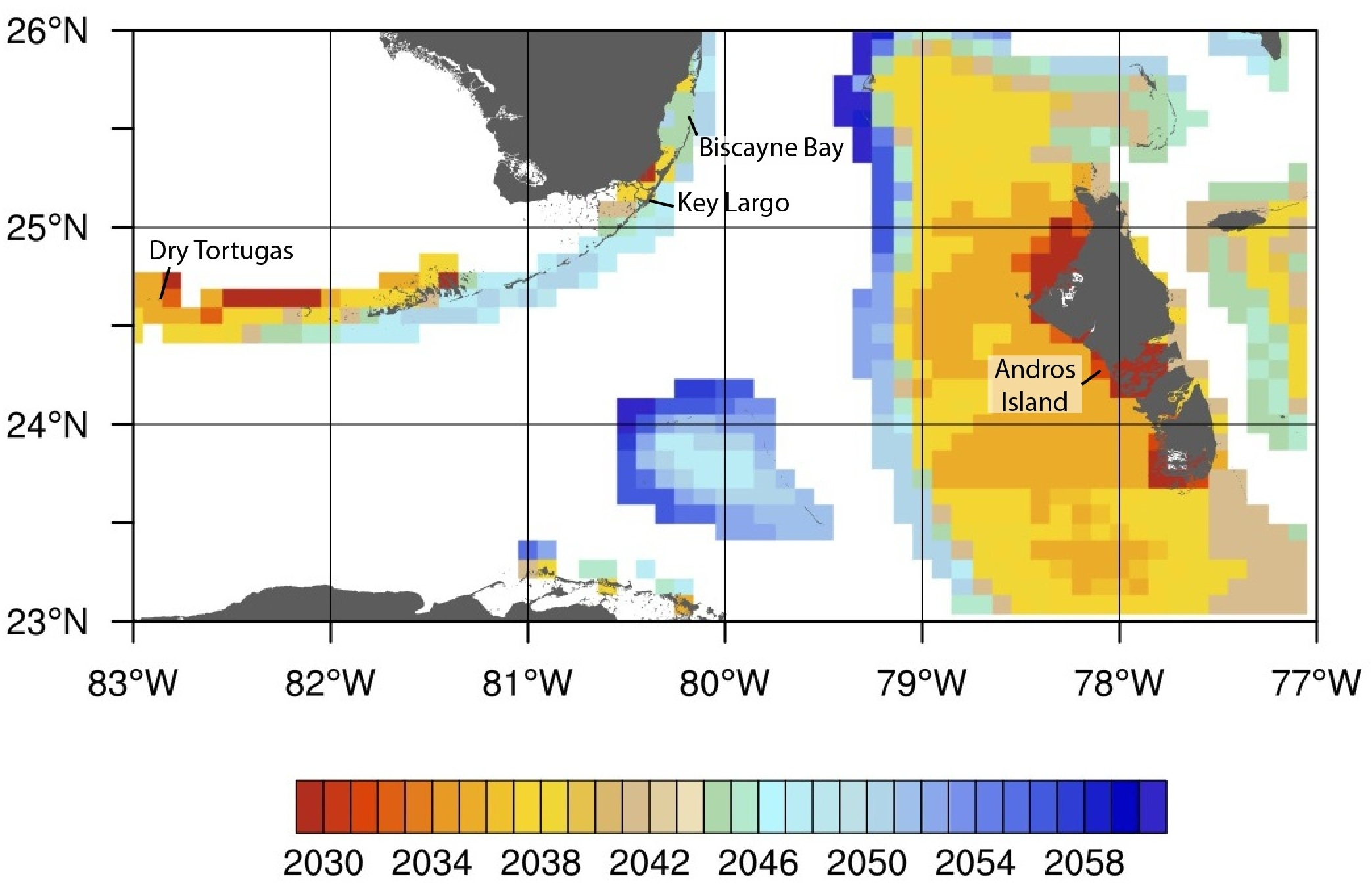 Projected timing in years of annual severe bleaching for the Florida Reef Tract and the Bahamas.