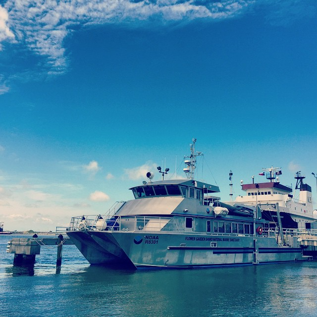 The NOAA research vessel Manta at port in Galveston, Texas before its sail to the Flower Garden Banks National Marine Sanctuary. Image credit: NOAA