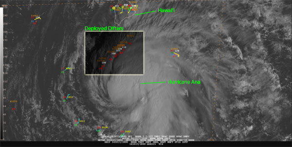 Hurricane Ana approaches Hawaii'i and crosses over NOAA's array of drifting Ocean Buoys