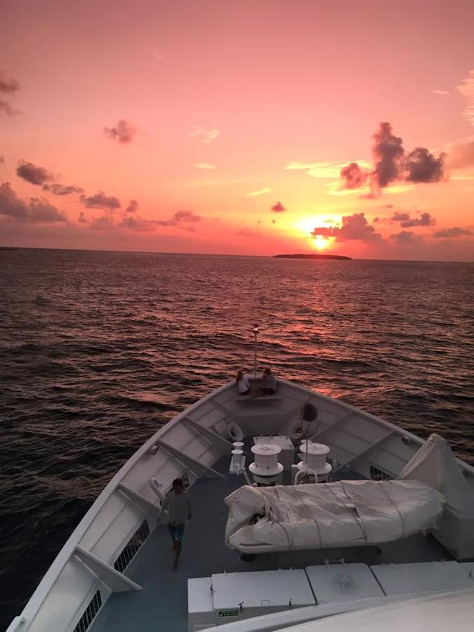 Chagos sunset aboard the R/V Golden Shadow.