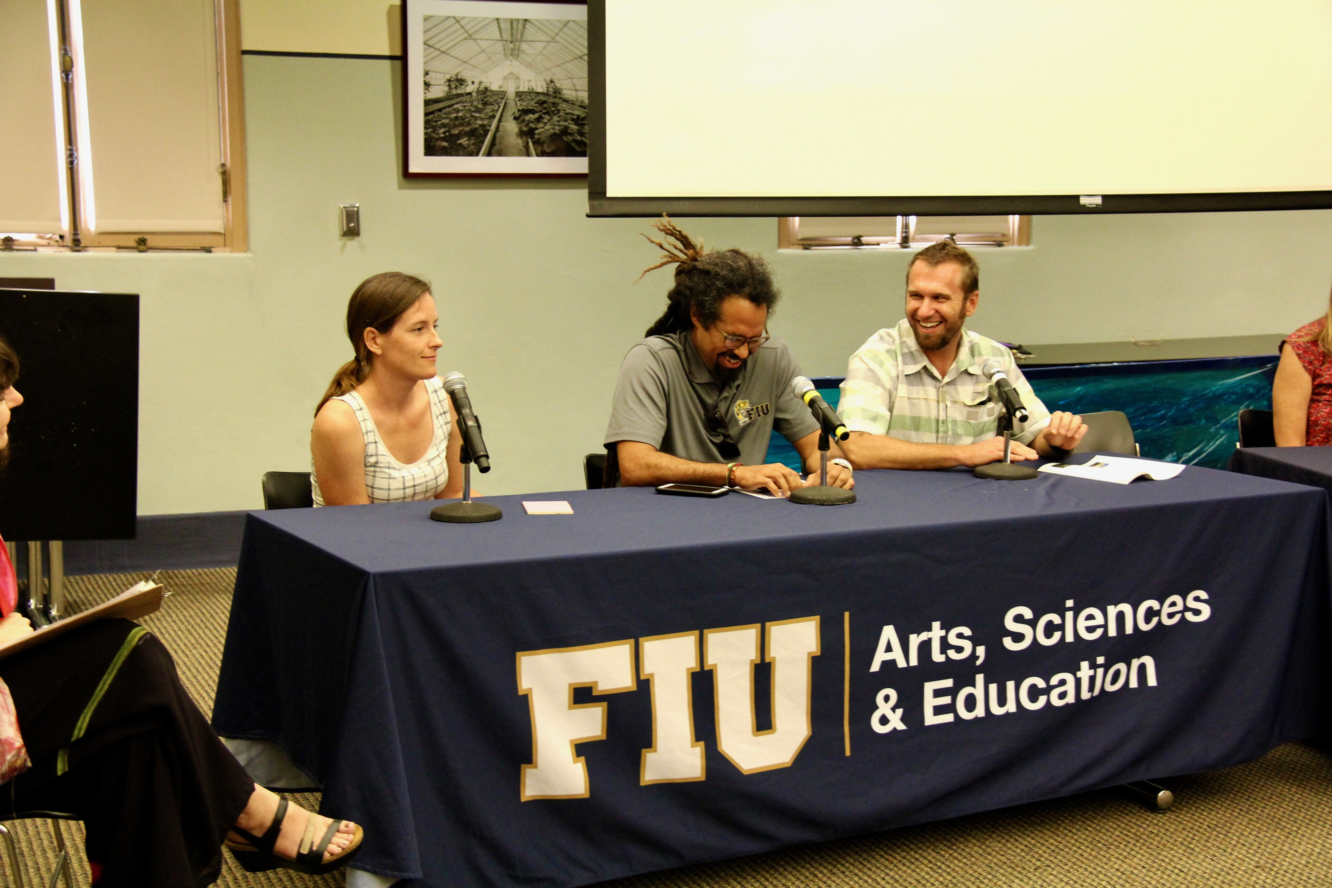 AOML Oceanographer Chris Kelble (right) sharing his knowledge on the scientific panel. Image credit: NOAA
