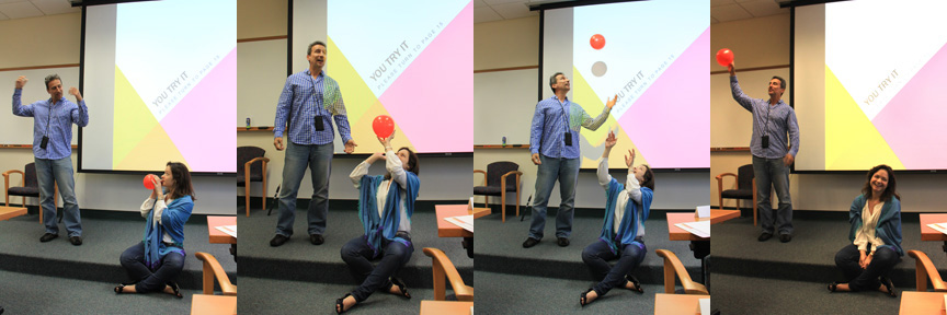 Uli Rivero and Erica Rule use a balloon as an explanatory prop during their NED talk. Image credit: NOAA