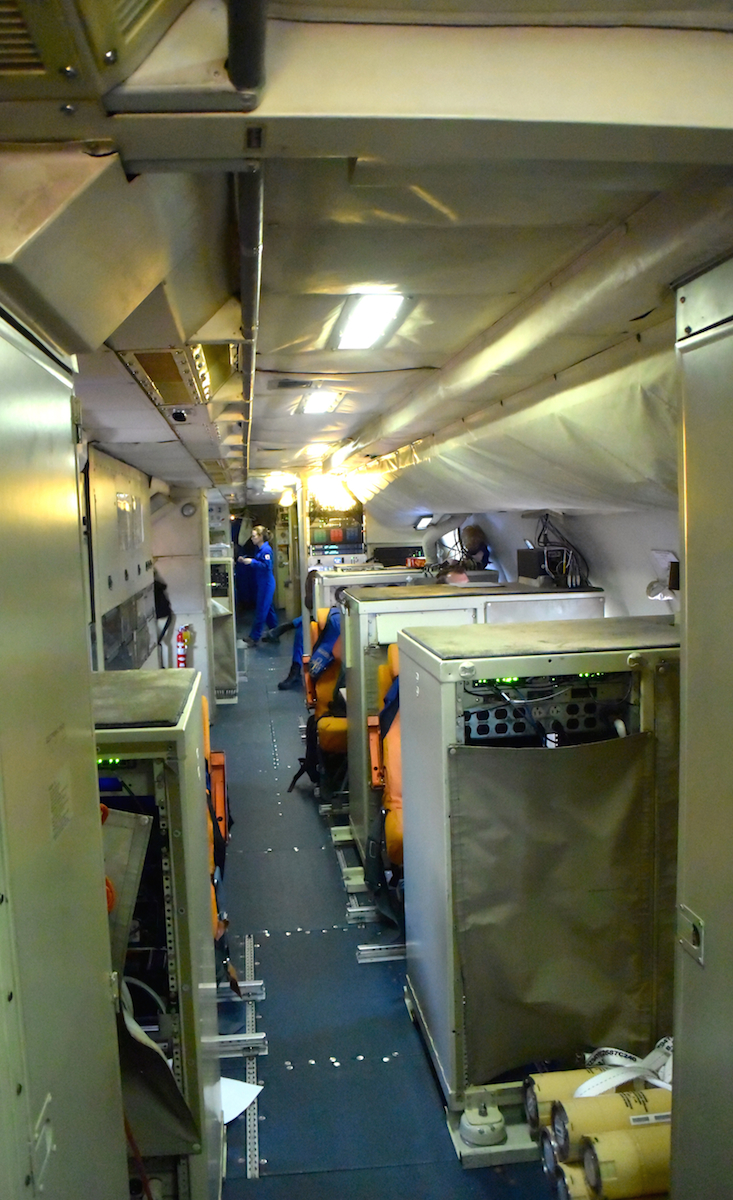 A view inside the cabin of the P-3. Image credit: NOAA