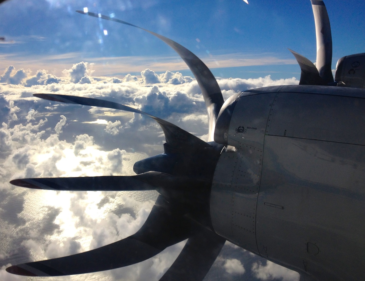 View of one of the P-3's turbo propellers as the aircraft approaches Hurricane Danny. Image credit: NOAA