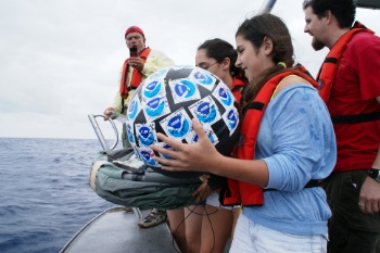 Students deploy an adopted drifter for Earth Day 2013