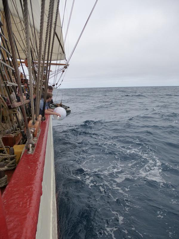 A drifting buoy being deployed from the Bark Europa off South Africa (credit: NOAA/AOML)