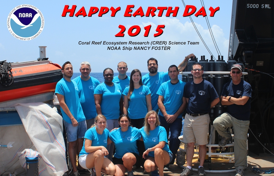 Happy Earth Day from the team aboard the NOAA ship Nancy Foster in the Caribbean. Image credit: NOAA