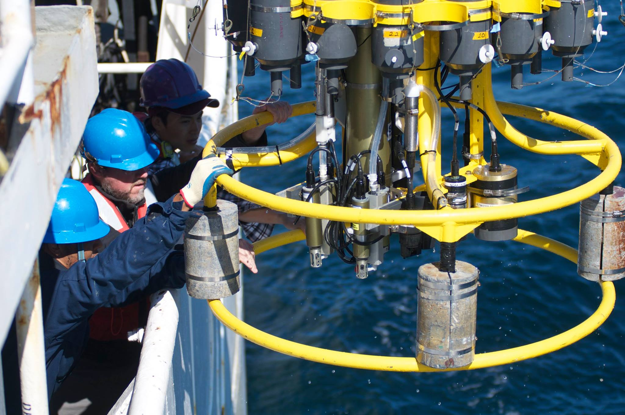 Retrieving the CTD from the water on an previous East Coast OA cruise. Image credit: NOAA