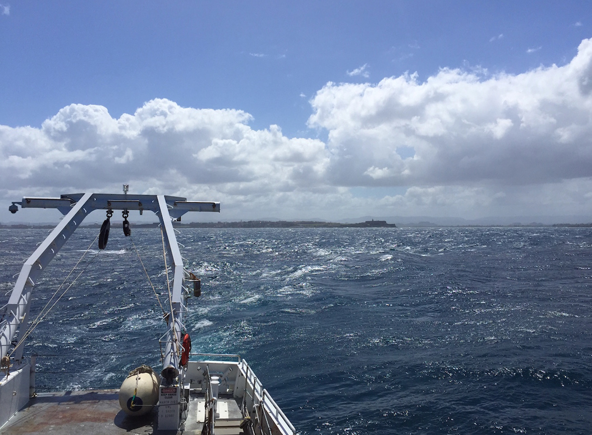 Image taken off the stern of the UNOLS R/V Endeavor as the vessel is underway. Image credit: NOAA