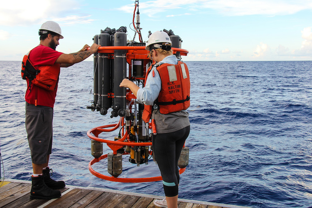Scientists conduct experiments in the Florida Straits. Image credit: NOAA