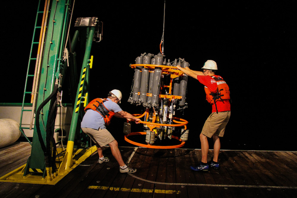 Scientists get ready to conduct night time surveys in the Florida Strait. Image credit: NOAA