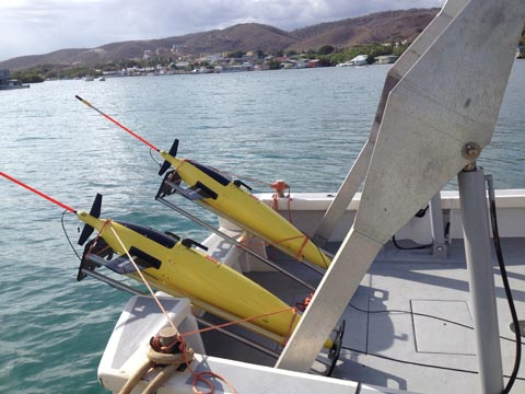 Sea Gliders ready for deployment off of Puerto Rico