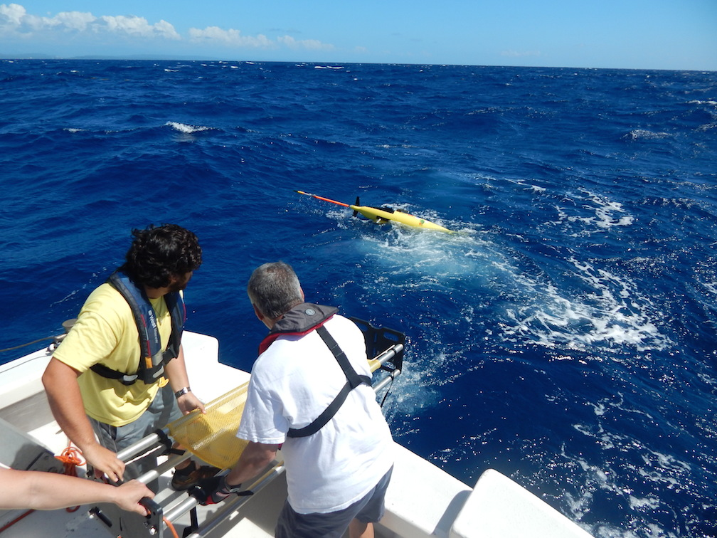 Professor Julio Morell and Luis Pomales of The University of Puerto Rico at Mayaguez deploy the underwater glider.