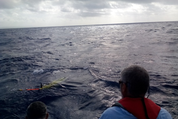 The recovery team pulls up alongside the glider. Image credit: NOAA