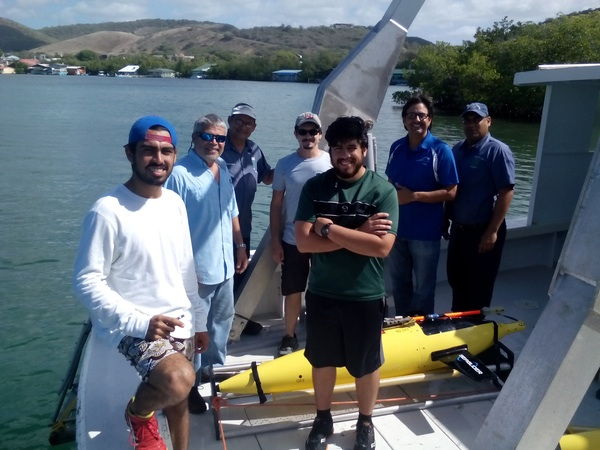 The recovery team on board the R/V La Sultana after a successful retrieval mission. Image credit: NOAA