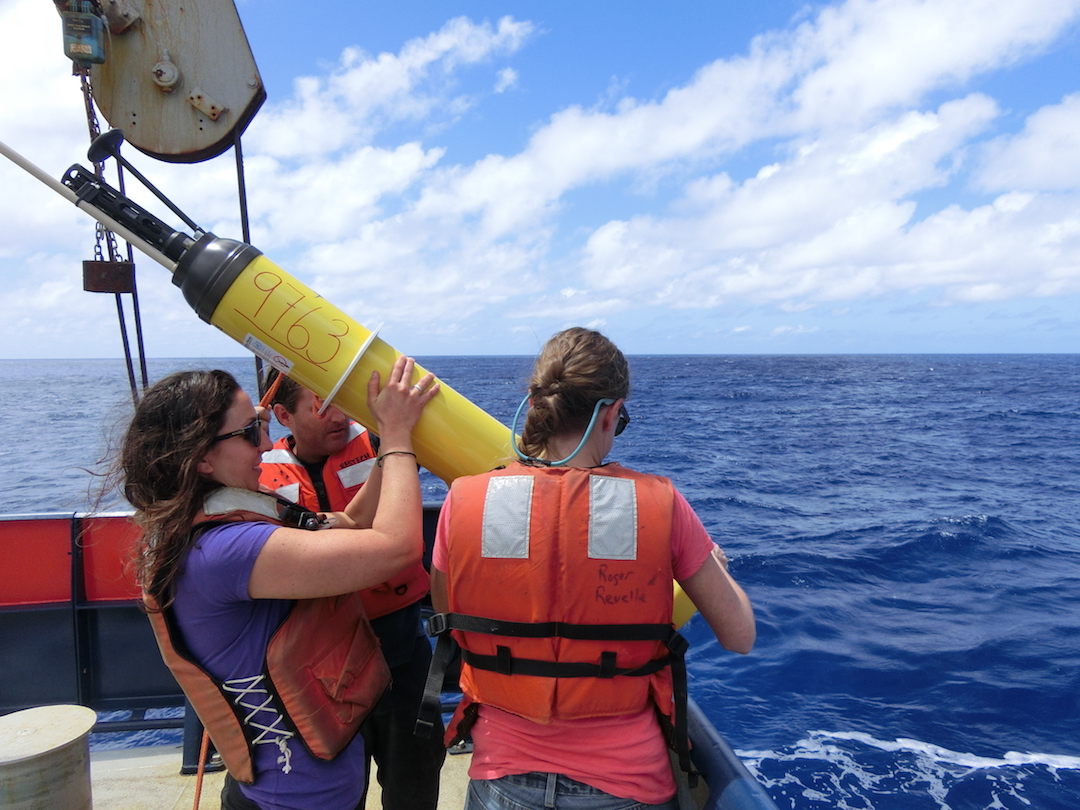 Instruments such as the ARGO float are used by scientists aboard the GO-SHIP cruise to collect ocean measurements. Image credit: NOAA