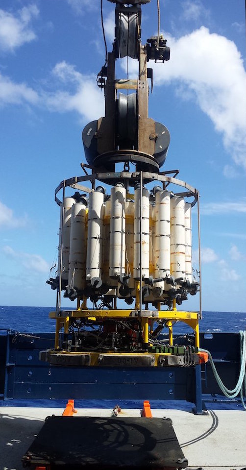 Instruments such as the CTD are used by scientists aboard the GO-SHIP cruise to collect ocean measurements. Image credit: NOAA