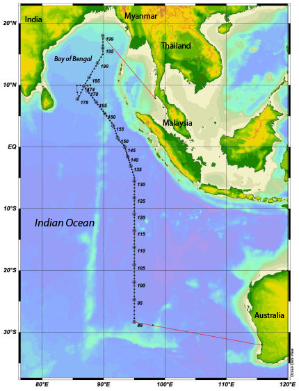 The cruise track for the 2016 GO-SHIP Indian Ocean cruise. Credit: NOAA