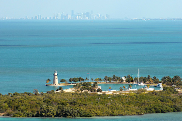An aerial view of Boca Chita Key surrounded by Biscayne Bay. Image credit: National Park Service