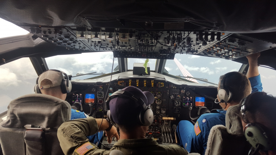 Hurricane scientists aboard NOAA P3 Orion, flying into the eye of Harvey. Image credit: NOAA
