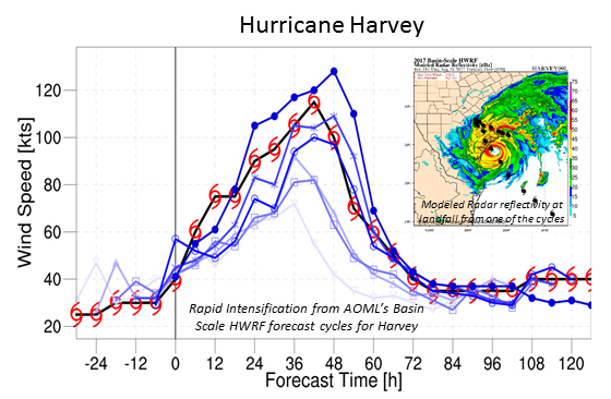 Intensity predictions from AOML's basin-scale HWRF forecast cycles for Hurricane Harvey, with Harvey's actual intensity denoted by the red hurricane symbols. Inset shows model radar reflectivity at landfall from one of the cycles. Image credit: NOAA