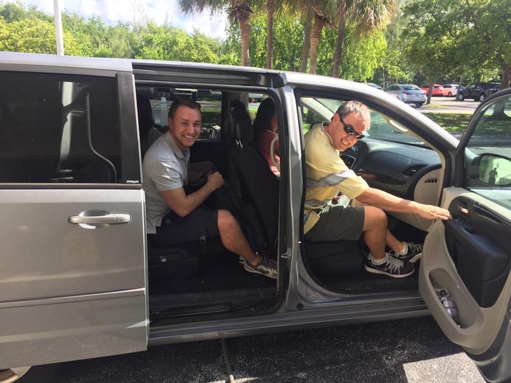 Hurricane Scientist Rob Rogers (right) and I (left) leaving for Tampa. Image credit: NOAA