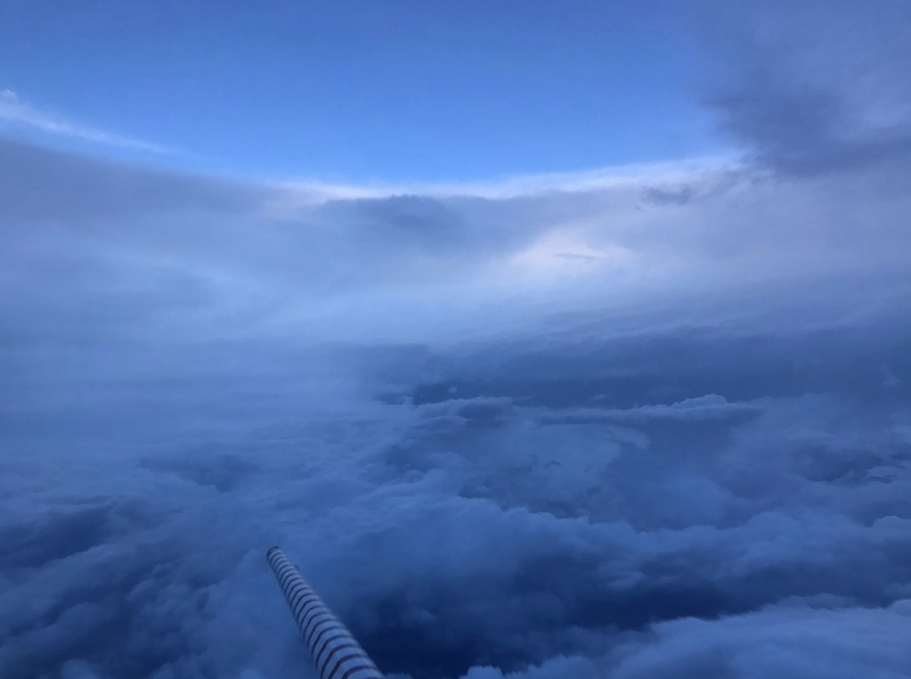 "Inside the eye of Irma on P3 Orion aircraft. This is referred to as the ""stadium effect"". Image credit: NOAA"